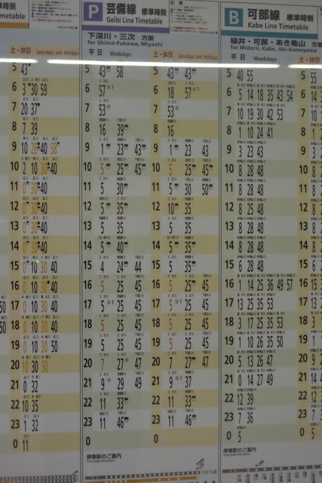 【14:59】芸備線の時刻表